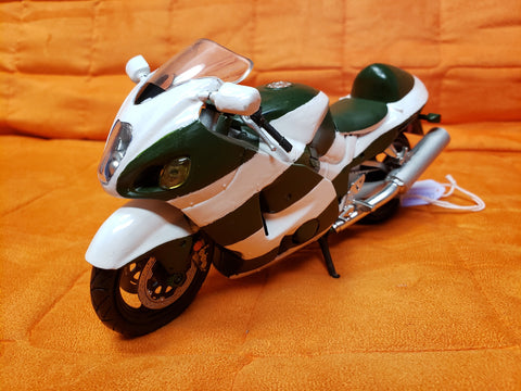 "6"" Diecast Motorcycle Green/White"