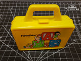 Fisher-Price Little People 638 pencil, blocks yellow/orange lunch box + thermos 1979