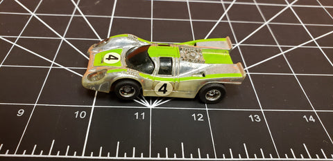 Vintage Tyco slot car silver & green #4 With Chassis HO Scale Vehicle
