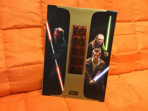 2000 Card from Star Wars the Phantom Menace with a strip of 35 mms film from the film