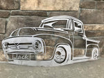 56 Ford Pickup Truck Metal Wall Art - Personalizable