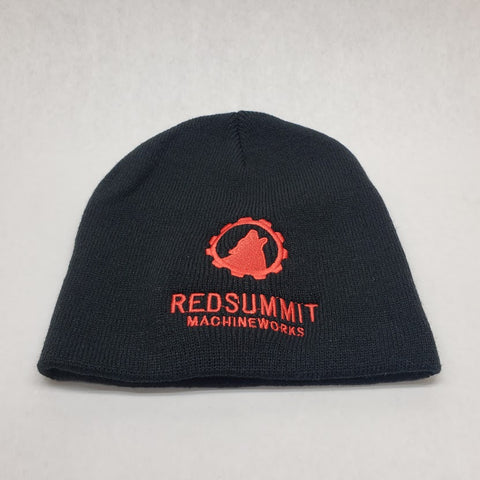Red Summit Swag, Red Summit Beanie, Red Summit logo in red embroidered on soft knit black beanie.