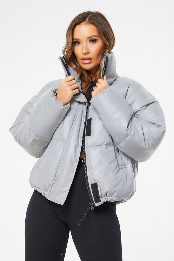 QUILTED COLLARED PUFFER JACKET