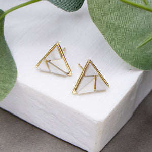 Triangle earrings with shell section detail
