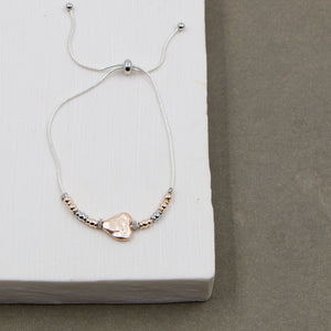 Hammered heart delicate friendship bracelet