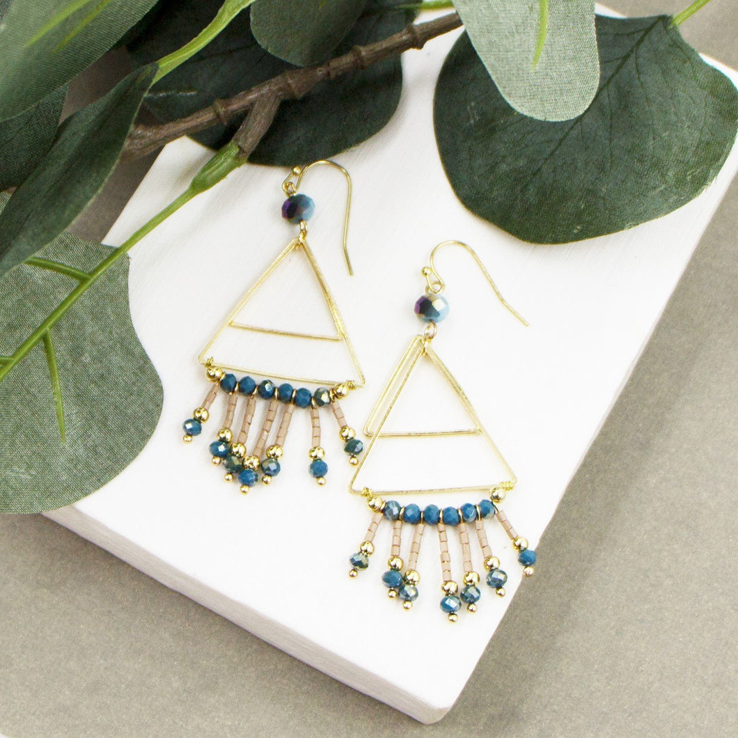 Double triangle and beads earrings