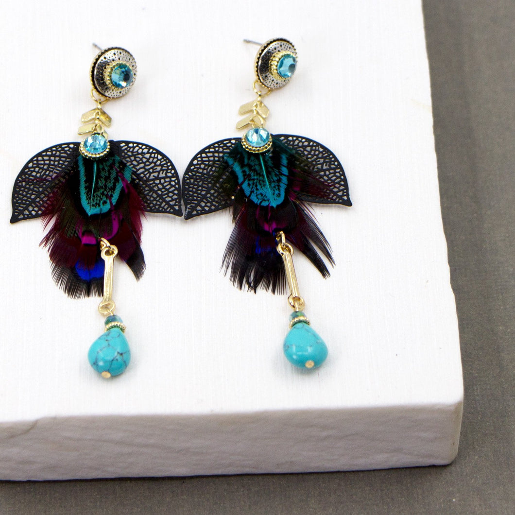 Crystal and feather drop boho style earrings
