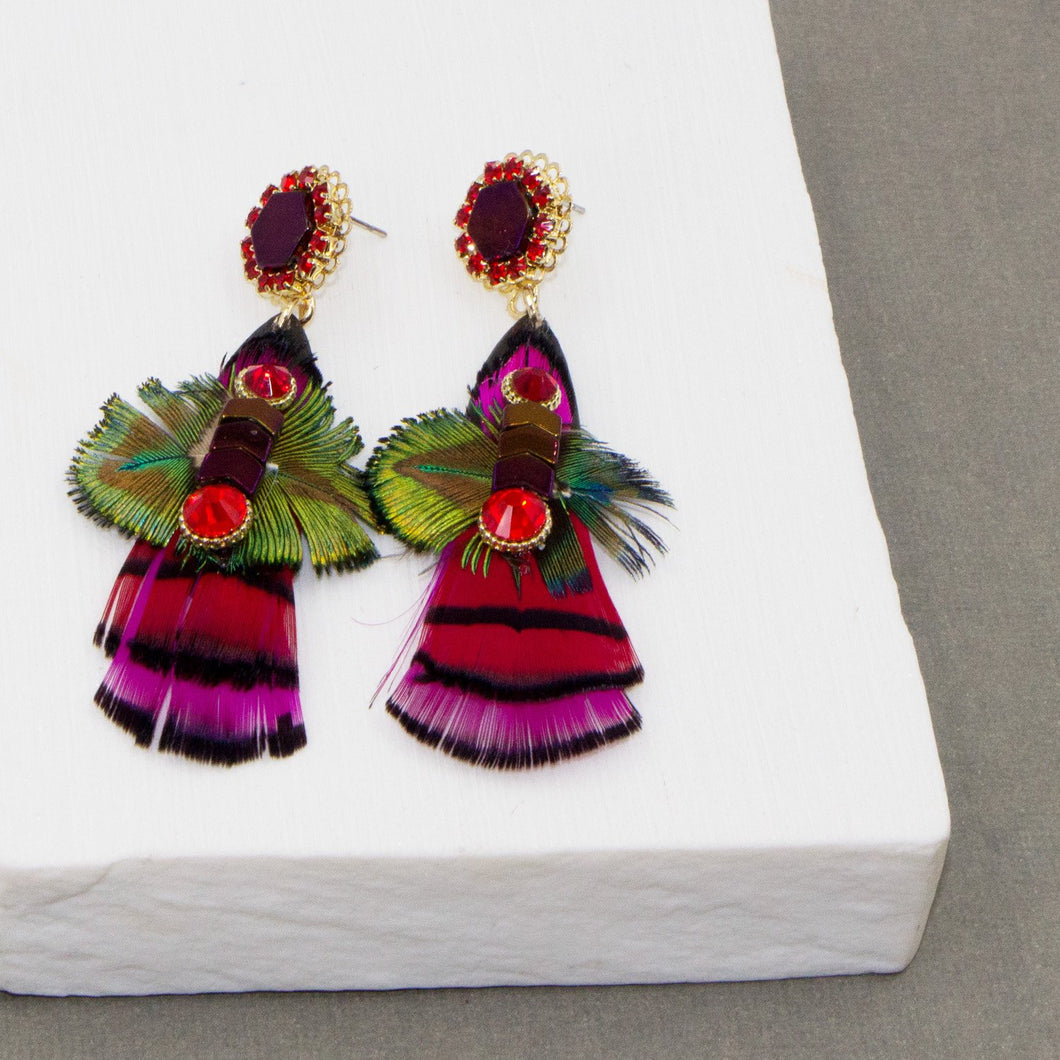 Crystal and feather drop boho earrings