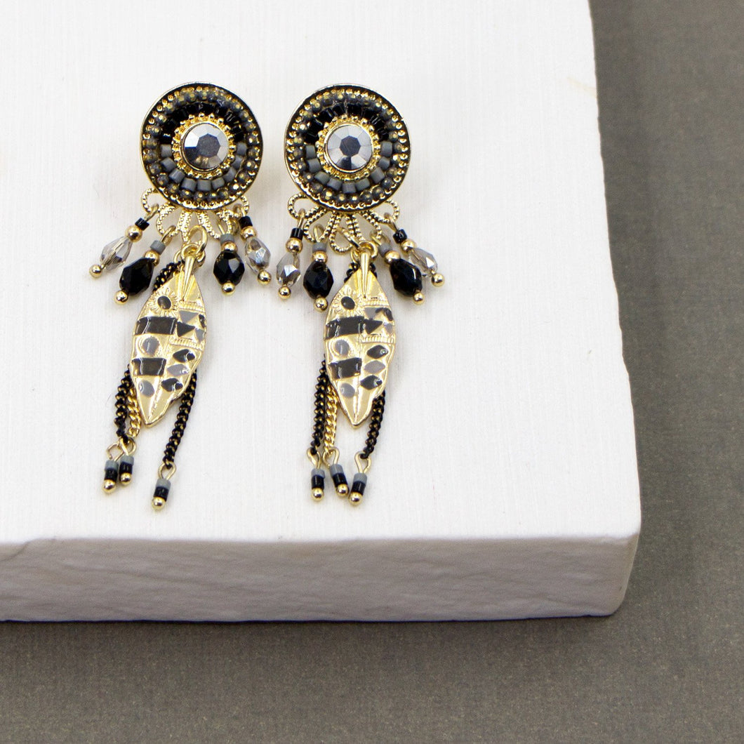 Crystal, beads and feather motif boho style earrings