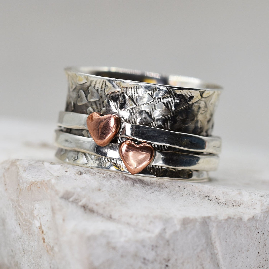 925 Spinning ring with copper hearts - Size 10