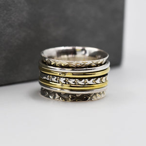 925 Spinning ring with brass and heart band - Size 6