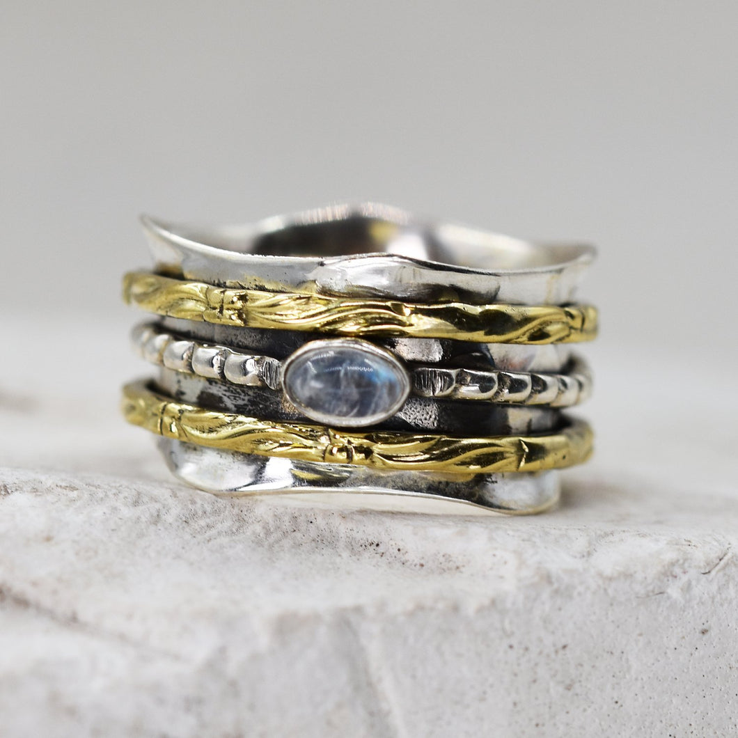 925 Spinning ring with gold band and moonstone - Size 6