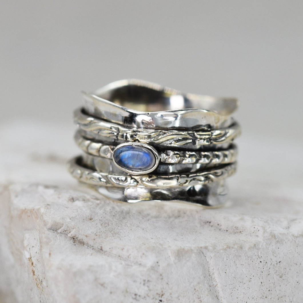 925 Spinning ring with gold band and moonstone - Size 9