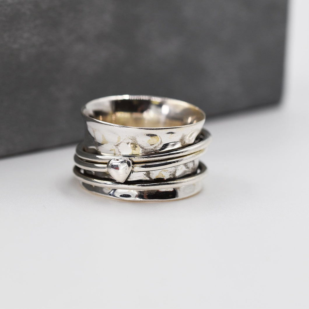 925 Spinning ring with silver heart and band - Size 6