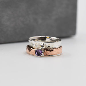 925 Spinning ring - silver ring with copper spinning band and amethyst stone - Size 6