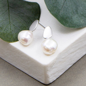 Real pearl studs with contemporary component