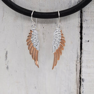 925 Silver angel wing drop earrings with rose gold plating