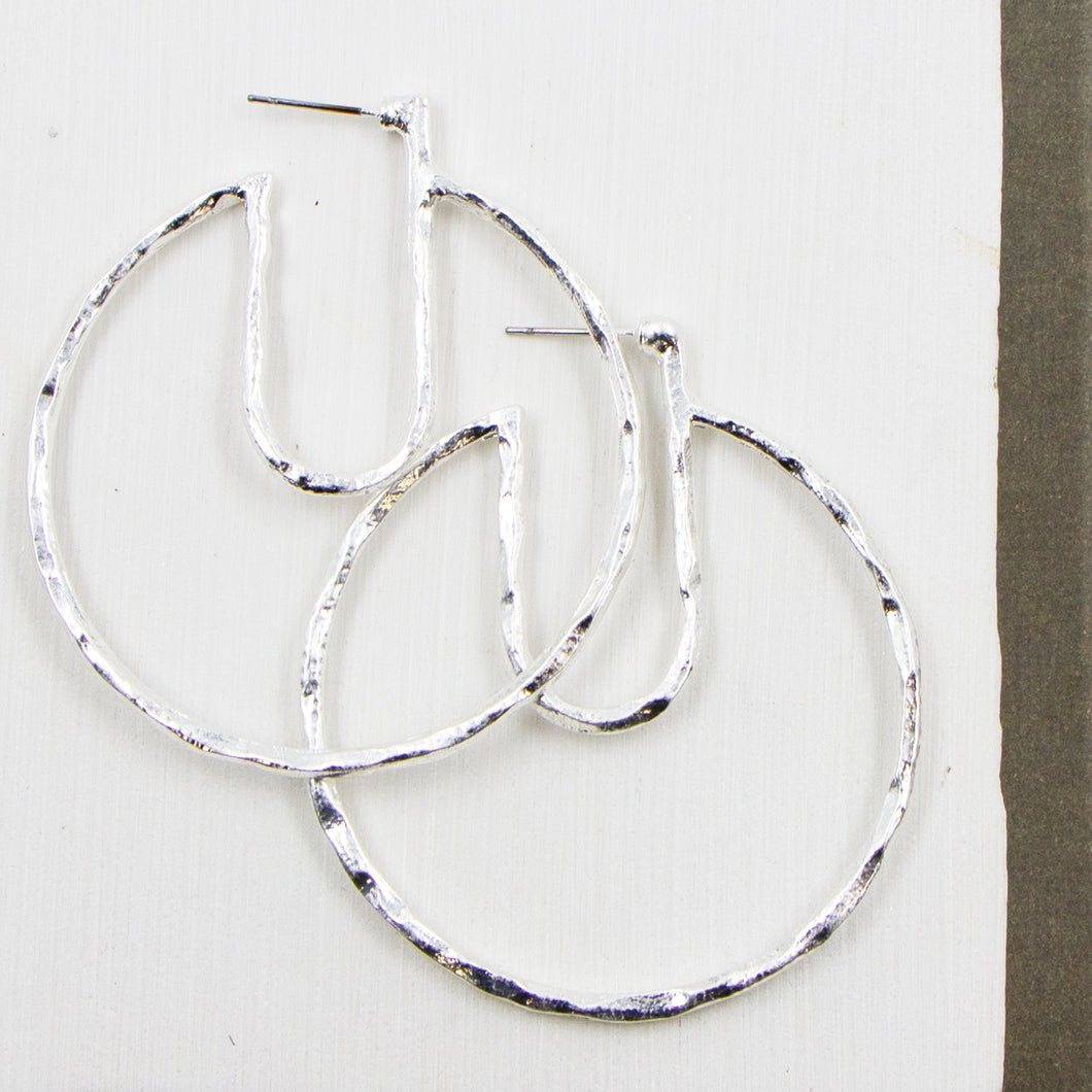 Contemporary rustic hoop earrings