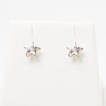 Load image into Gallery viewer, Cz star sterling silver stud earrings