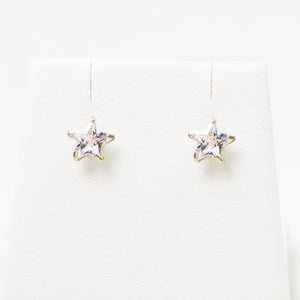 Cz star sterling silver stud earrings