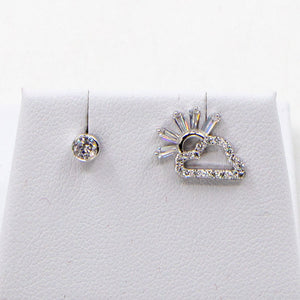925 silver cz cloud and sunshine stud earrings