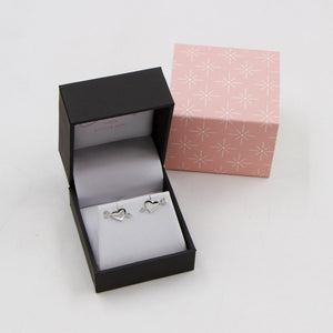 925 silver heart and cz arrow stud earrings