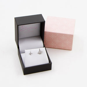 925 silver cz star and planet stud earrings