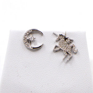 925 silver cz unicorn and star in moon stud earrings