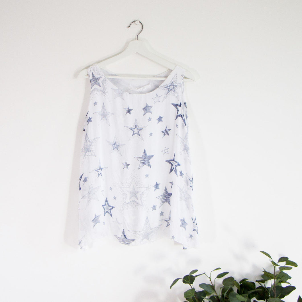 Sleeveless silk star top with comfortable attached undergarment