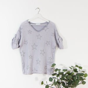 Linen front jersey back silver star print top