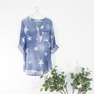 Star print lightweight shirt with 1 pouch pocket