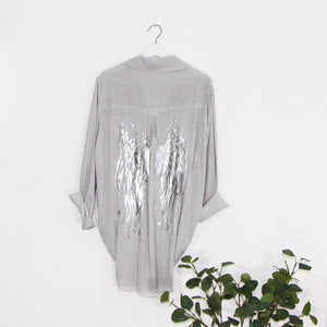 Substantial vintage wash long sleeve shirt with silver hot print angel wings on back