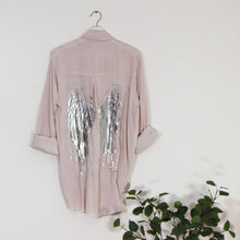 Load image into Gallery viewer, Substantial vintage wash long sleeve shirt with silver hot print angel wings on back