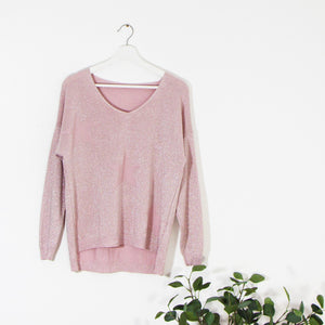 Soft v neck jumper with three subtle stars in knit