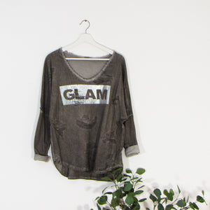 Distressed effect long sleeve GLAM top