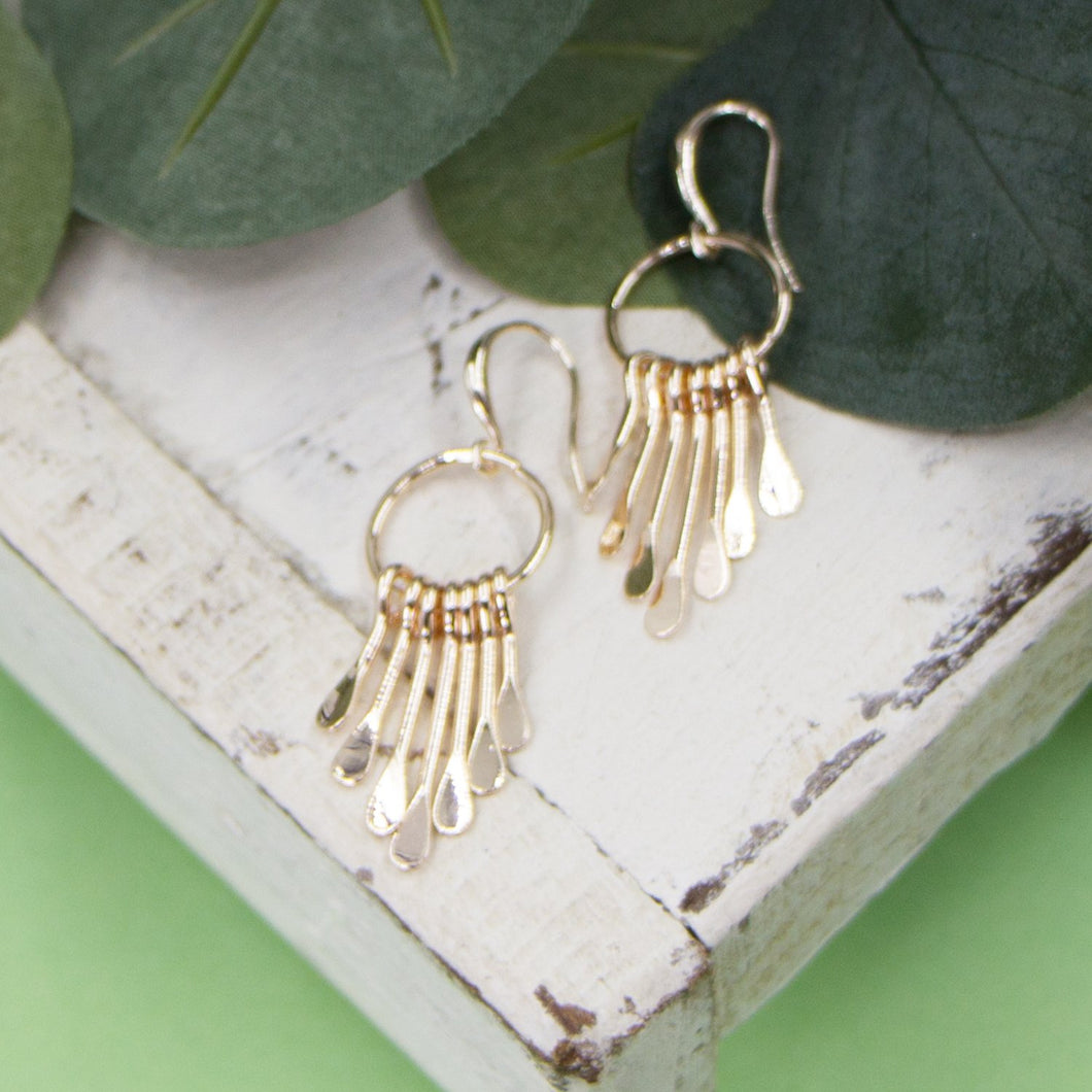 Open circle on fish hook earrings with drop