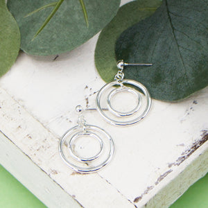 Soft hammered open circles drop earrings