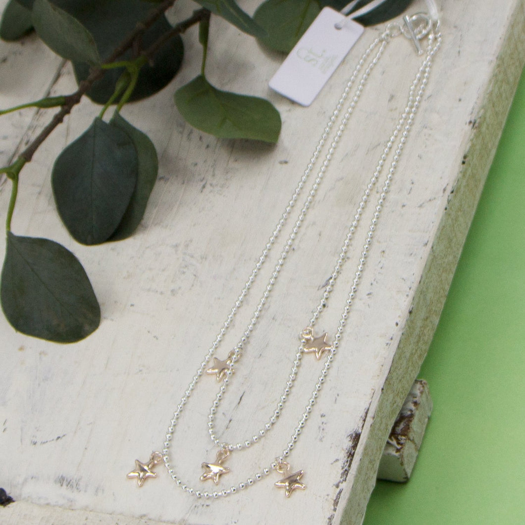 Double layer short necklace with little star pendants