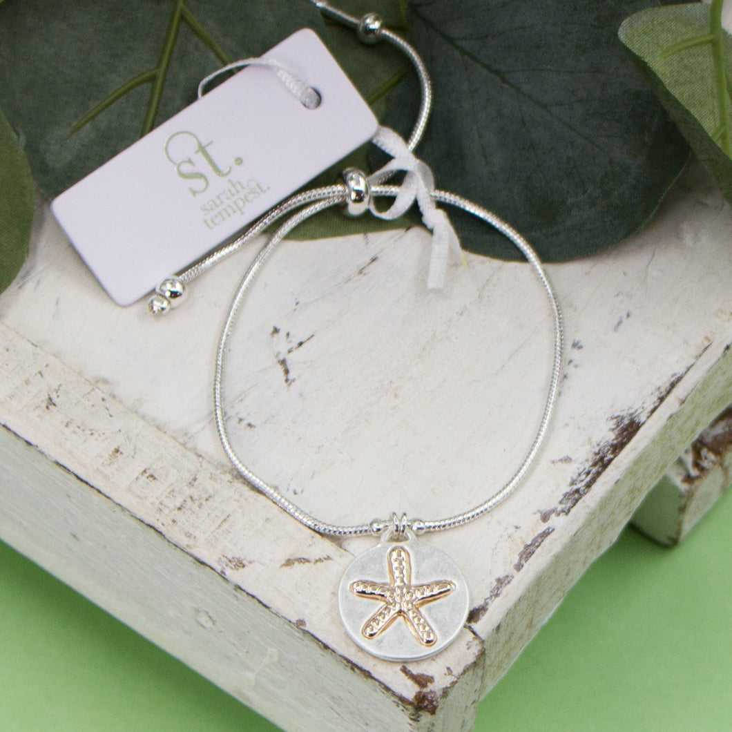 Starfish imprint charm on friendship style bracelet