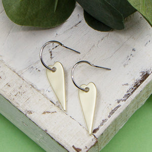 Contemporary elongated heart mini hoop earring