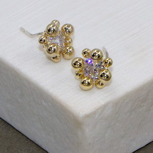 Atom like ball custer stud earrings