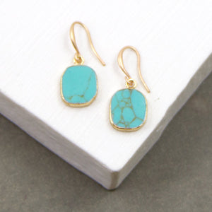 Turquoise semi precious stone earrings