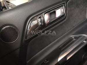 Carbon Fiber Center Door Handle Trim For 2015+ Mustang