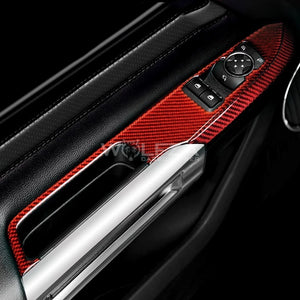 Carbon Fiber Window Control Trim(Pair) For 2015+ Mustang