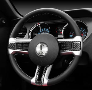 CARBON FIBER STEERING WHEEL TRIM FOR 2010-2014 MUSTANG