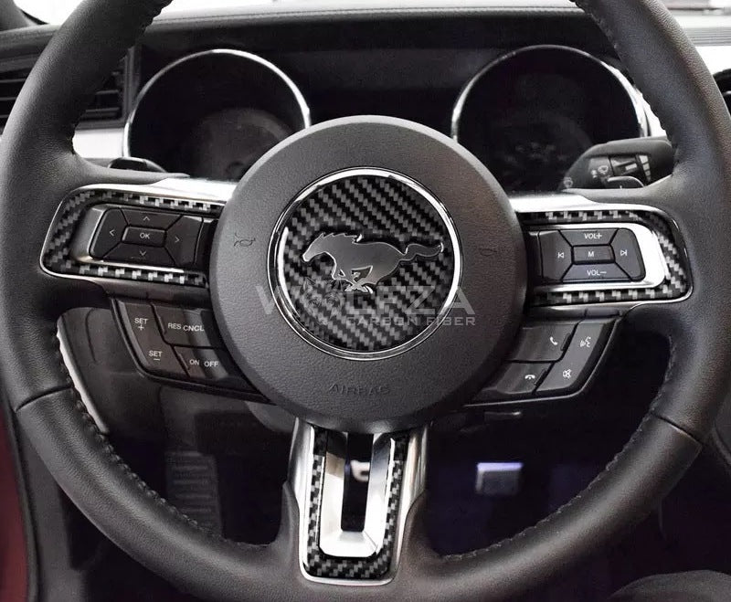 2015-2019 Mustang Carbon Fiber Steering Wheel Trim