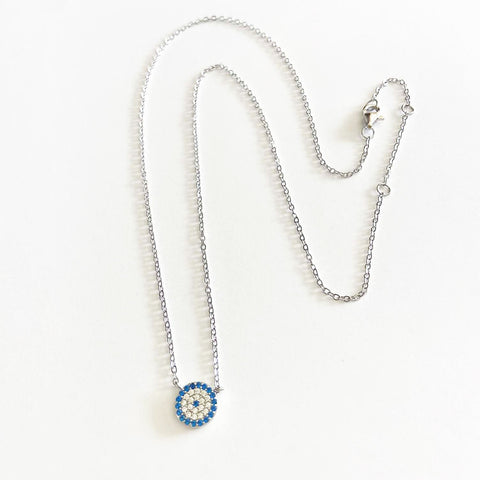 Blue and Clear Quartz Circle Necklace