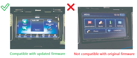 Compatible with updated firmware, flat icon interface. Not compatible with original firmware, CarWings interface.