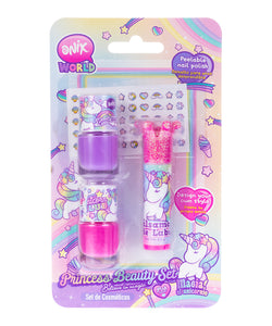 Kit Esmaltes, stickers y brillo labial de unicornio