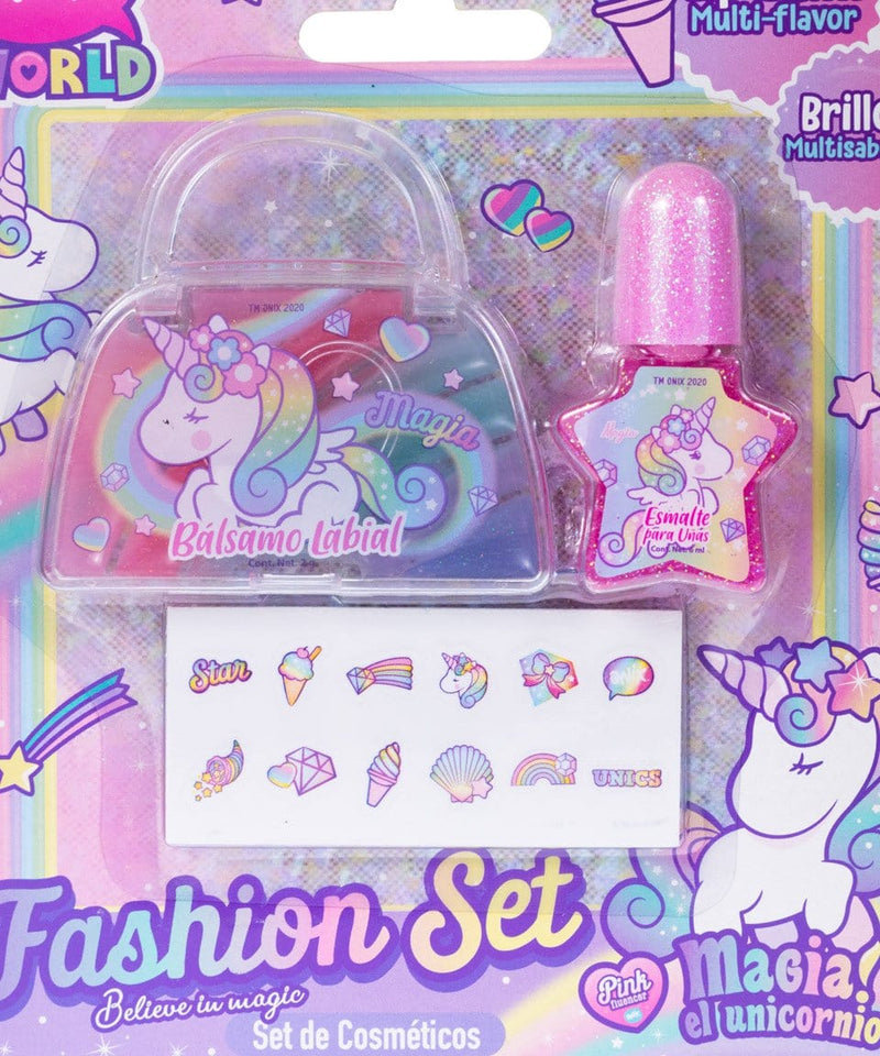 Kit de brillo labial, esmalte y stickers de magia el unicornio